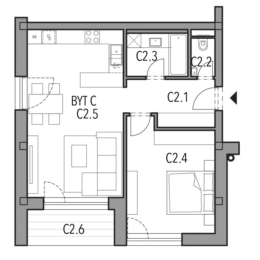 Byt C (Blok A, 2.NP) - Photo nb. 1