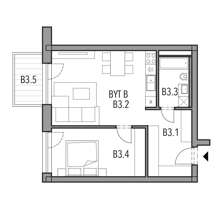 Byt B (Blok A, 3.NP) - Photo nb. 1